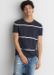 [Men] 8717 SS Striped high low bottom hem with vent tee