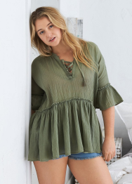 [Aerie] Lace up ruffle tunic