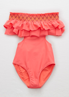 [Aerie] One piece smocking double ruffle cut out