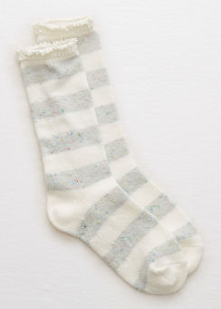 [Aerie] Stripe lace boot sock
