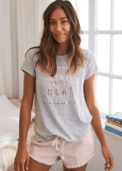 [Aerie] Real soft crew aerie logo basic tee
