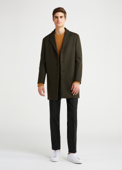 STRETCH MELTON WOOL COAT