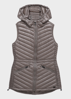 DOWN-FILLED MID LENGTH HOODED VEST