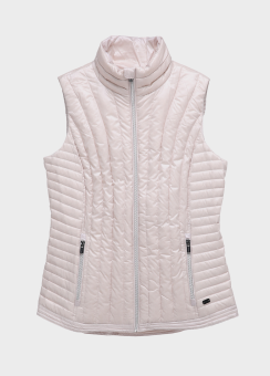 VERTICAL QUILTED MOCK NECK DOWN VEST