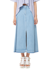 Flare denim long skirt