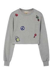 Patched crop sweatshirts