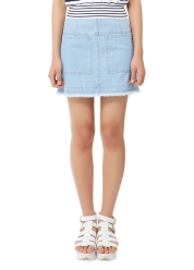 Cut-off denim skirt