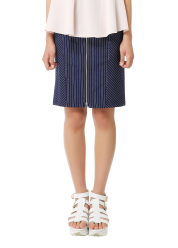 Stripe front cut skirt