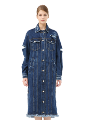 Back logo embroidery denim coat