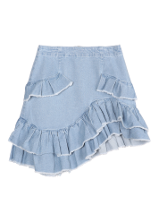 Denim ruffle skirt