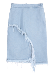 Front cut off denim skirt