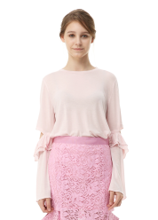 Frill wide sleeve tee