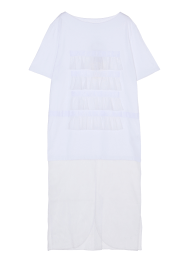 Frill stripe jersey long tee dress