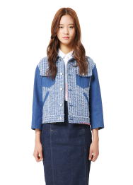 Denim sleeve detailed tweed jacket