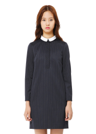 Stripe white collar dress