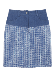 Denim-tweed mid skirt