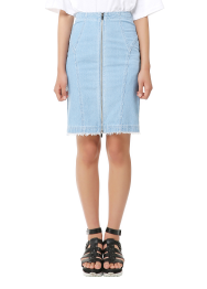 Front cut denim skirt
