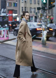Color edge long coat