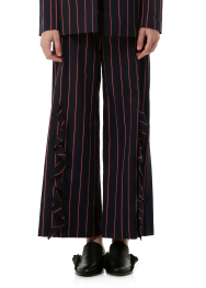 Stripe ruffle trouser pants