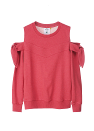 Off shoulder ribbon sweatshirts