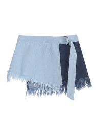 Multi denim belt skirt