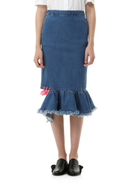 String detail denim ruffle skirt