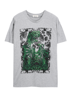 Wood leaf printed tee