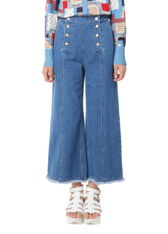 Wide button denim trouser pants