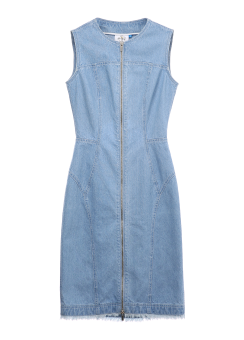 Side cut off denim dress