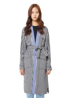 Multi check trench coat