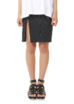 Stripe shirring skirt