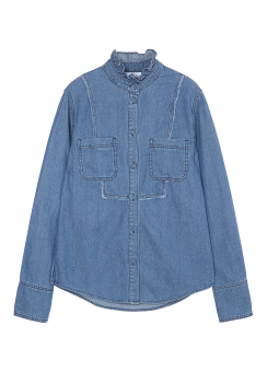 Shirring neck denim shirts