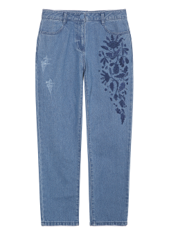 Embroidery boyfriend fit jeans