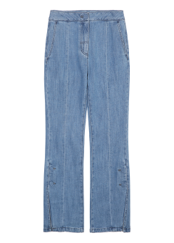 Side button straight fit jeans