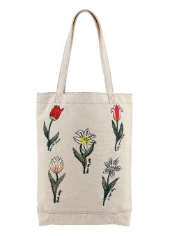 Botanic embroidery tote bag