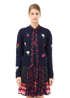 Botanic embroidery pullover