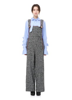 Herringbon overall wide pants