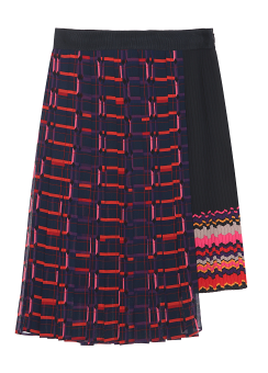 Unbalanced pleats layered skirt