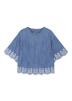 Embroidery denim top