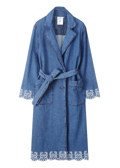 Embroidery denim long belted jacket