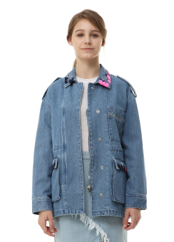 Eyelet detail denim jacket