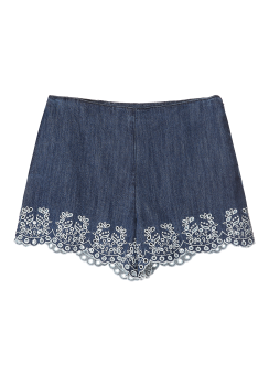 Embroidery denim short pants