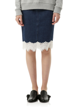 Lace trim denim skirt