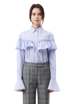 Stripe ruffle shirts