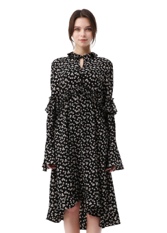 Flower print shirring dress