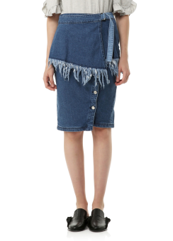 Cut off wrap denim skirt