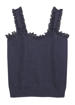 Frill bustier knit top
