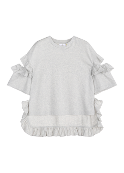 Frill shoulder cut tee