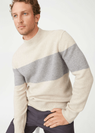 [Men] Felted strp mockneck