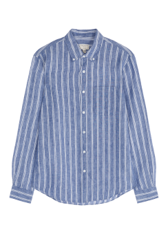 [Men] Slim bd linen stripe